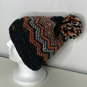 Vince Camuto Total Eclipse Knit Cuff Pompom Knit Beanie Orange Charcoal Heather